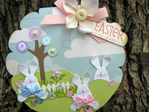 Scalloped edges, hopping bunnies, and a bubble tree. It can't get much Spring-ier than this delightful card.