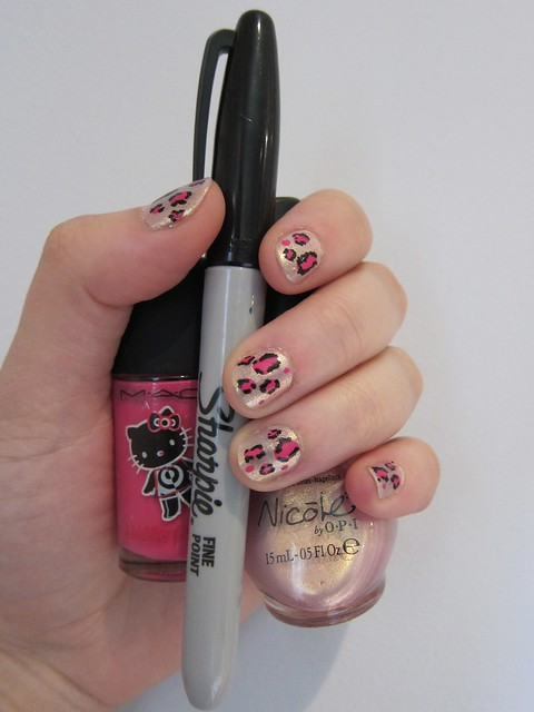Pink & Golden Leopard Nails