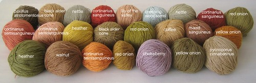 Naturally dyed silk/wool yarn