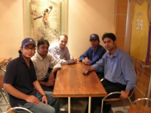 Clock-wise: Russell John, Ahmed Rafiq-ul-Islam, Toby Phillippe, Mir Mahbub Alamgir, and Mohammad Salman. At Boomers, Banani.