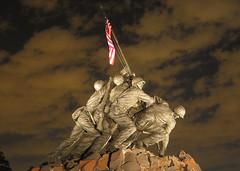 USMC Iwo Jima War Memorial at Night, World War...