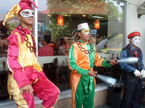 Juggler, Unicycle Man and Jester at Krispy Kreme Chocolate Carnival Event