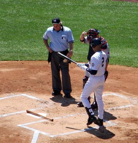 Yankee Stadium Inaugural Game: 1st Yankee at bat Derek Jeter - Babe Ruth's bat by skyliner72.