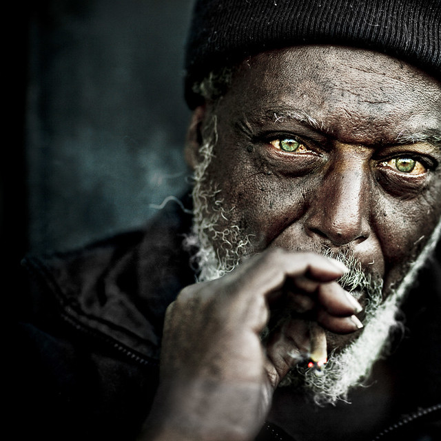 Homeless man streets smoking emotion moving sadness powerful