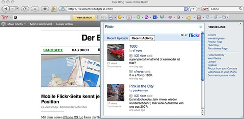 Flickr-Vorschau in Yahoo! Toolbar