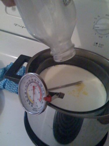 milk in a double boiler