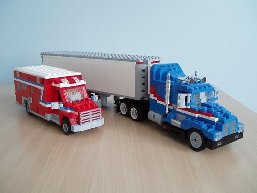 Ralph S LEGO truck and ambulance