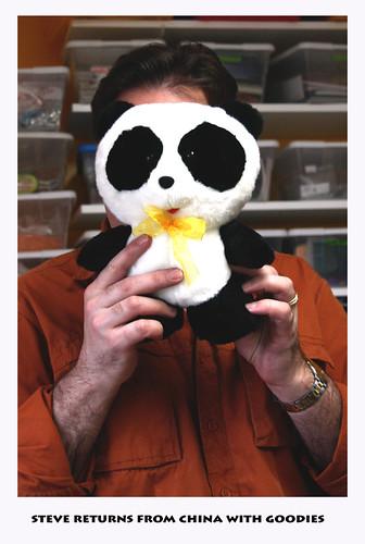 Steves trip to Beijing last week ..he took my stuffed panda Fling Fling along for the ride