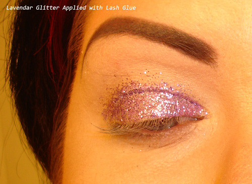 Lavender Glitter on the eyes