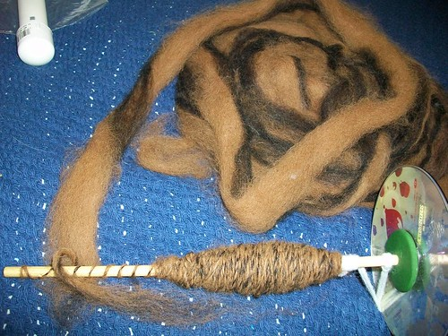 Brown and black alpaca fiber, partially spun.