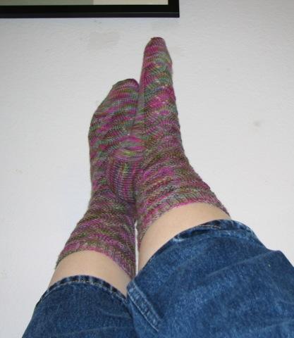 Spring Monkey Socks: on feet
