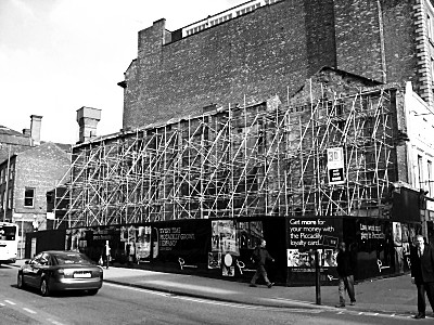 This picture, to me, is the architectural image of the credit crunch. There used to be a pound shop, behind the boardings, which was pulled down. I think the intention was to build a new building at some point. This was more than a year ago.