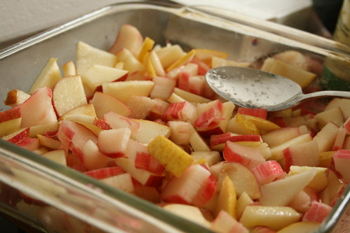 Rhubarb-Apple-Pear Crisp
