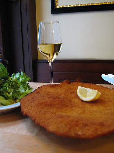 The mammoth Schnitzel of Figmuller restaurant - the biggest in town by you.
