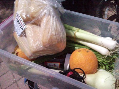 Farmers market loot on back of my cruiser.