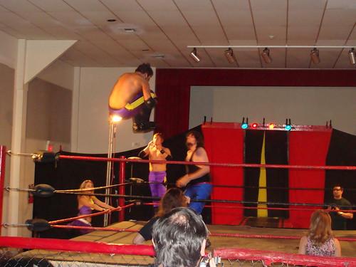 Ryan Cruz took to the air in their classic match against Evan Gelistico and Pierre Abernathy.