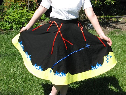 Missile Command circle skirt via http://www.evilmadscientist.com