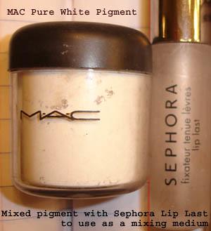 MAC Pure White Pigment & Sephora Lip Last