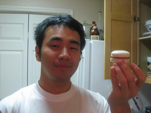 Raspberry white chocolate macaron