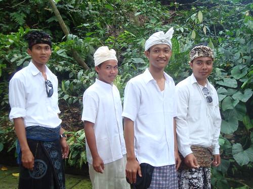 Lovely Balinese men in full attire