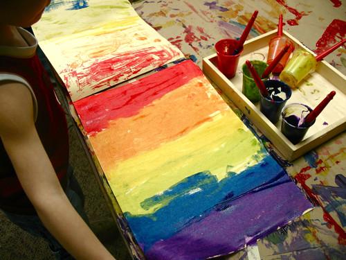 rainbow print making