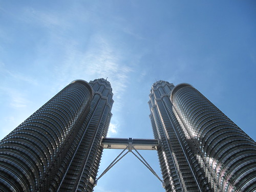 Looking up at the Petronas Towers