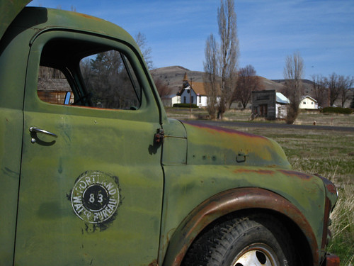 This bright green truck always stands out against the winter dry grass.