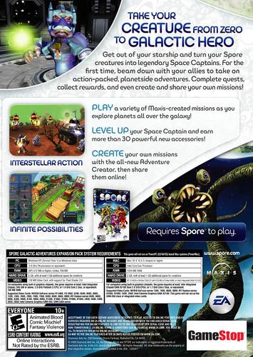 Spore Galactic Adventures - back box art