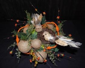 Burlap-Holiday Burlap & Birds  - Photo by Sharon McGukin AAF, AIFD, PFCIBirds