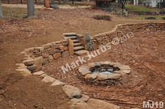 WM Mark Jurus 19, retaining wall, fire pit, out door space, steps, flat cap stones, dry laid stone construction, copyright 2014