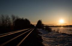 Sunset over tracks