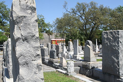 Streetcar goes past the cemetery