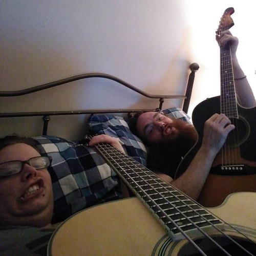 This is how we fall asleep. Band practice and snuggles.   #music #musicians #band #bandpractice #acoustic #acousticguitar #acousticbass #boyfriend #bandpracticeandsnuggles #isuckatbass #bertcole