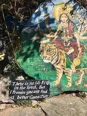 Sign at Shiva Cafe, above Bhagsu Nag Waterfall, Dharamsala, india