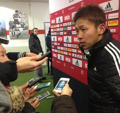 Der japanische Nationalspieler Hiroshi Kiyotake vom 1. FC Nürnberg nach der Partie gegen Borussia Mönchengladbach