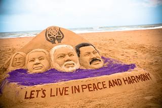 Sand Artist Manas Kumar Sahoo congratulates the Prime Minister of India