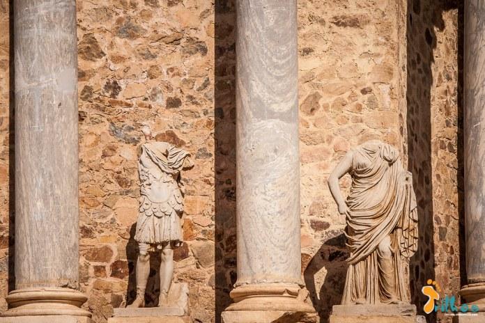 Pormenor do Teatro romano de Mérida