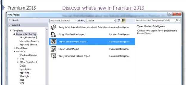 Visual Studio 2013 SQL Server Data Tools - Business Intelligence Template