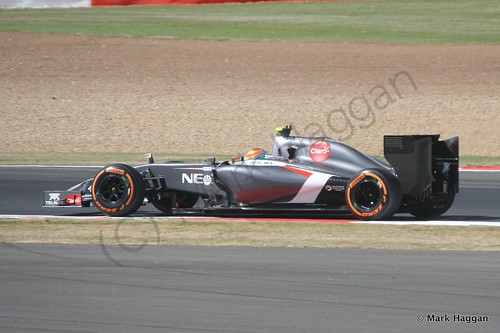 Esteban Gutierrez in his Sauber during Free Practice 1 at the 2014 British Grand Prix