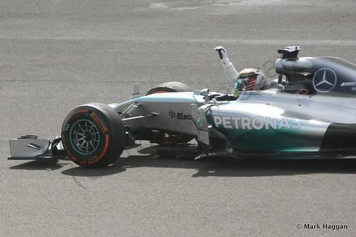 Lewis Hamilton celebrates winning the 2014 British Grand Prix