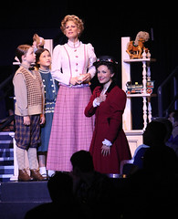 (L to R) Ben Ainley-Zoll (Michael Banks), Noa Solorio (Jane Banks), Shannon Warne (Winifred Banks) and Kelly McCormick (Mary Poppins) and in Mary Poppins, produced by Music Circus at the Wells Fargo Pavilion July 8 - 13, 2014. Photos by Charr Crail.