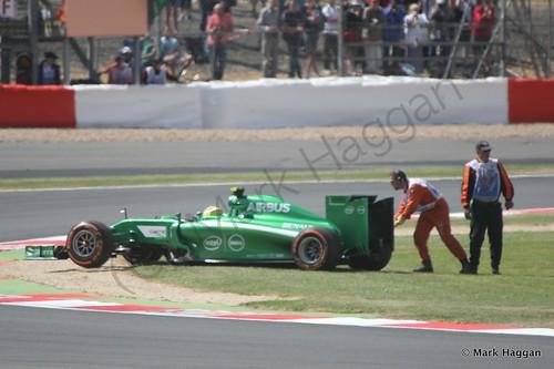 Marcus Ericsson spins off during Free Practice 1 at the 2014 British Grand Prix