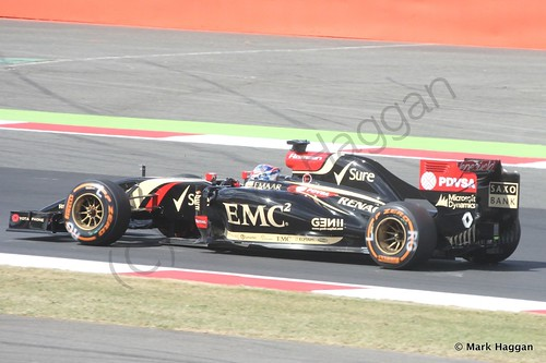 Romain Grosjean in his Lotus during Free Practice 1 at the 2014 British Grand Prix