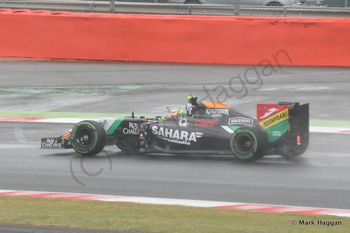 Sergio Perez in his Force India during qualifying for the 2014 British Grand Prix