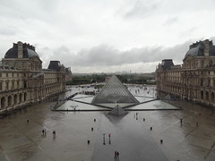 The line to enter the Louvre through the pyramid - they obviously don't know about the museum pass and other entrances