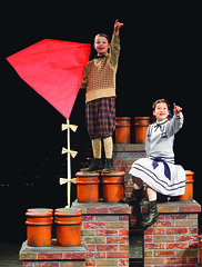 (L to R) Ben Ainley-Zoll (Michael Banks) and Noa Solorio (Jane Banks) in Mary Poppins, produced by Music Circus at the Wells Fargo Pavilion July 8 - 13, 2014. Photos by Charr Crail.