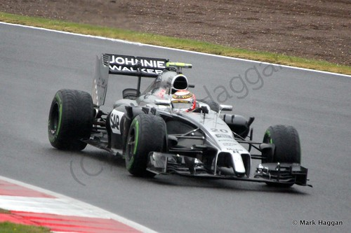 Kevin Magnussen in his McLaren during Free Practice 3 at the 2014 British Grand Prix