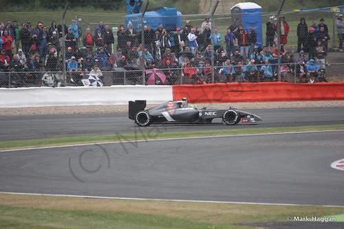 Esteban Gutierrez spins in his Sauber during qualifying for the 2014 British Grand Prix