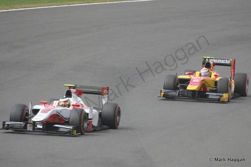 GP2 action during the first race at the 2014 British Grand Prix