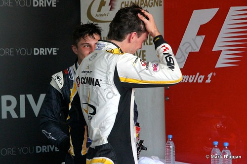 Mitch Evans and Jolyon Palmer after the first GP2 race at the 2014 German Grand Prix